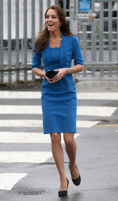 Kate Middleton wears blue LK Bennett dress - Duchess of Cambridge fashion - high street fashion - modest dress - celebrity fashion - handbag.com