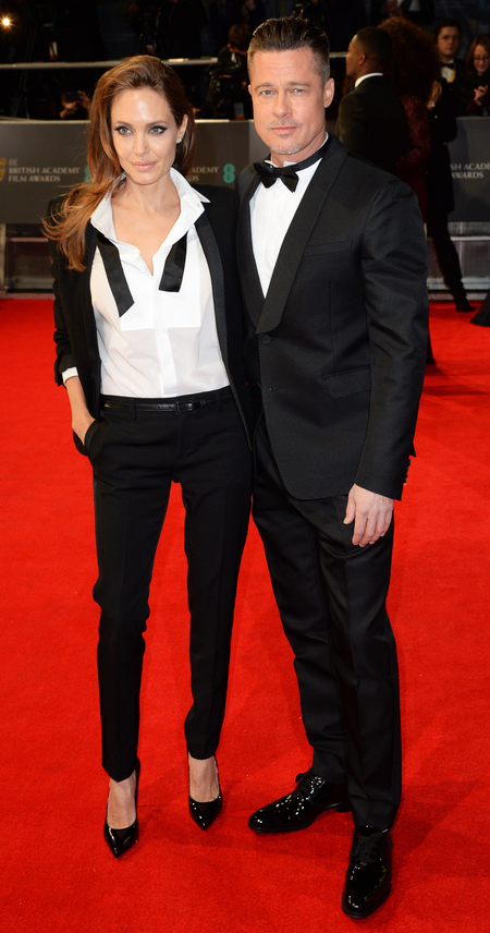 angelina jolie and brad pitt at 2014 bafta awards - tux suit masculine fashion trend - celebrity fashion trend - handbag.com