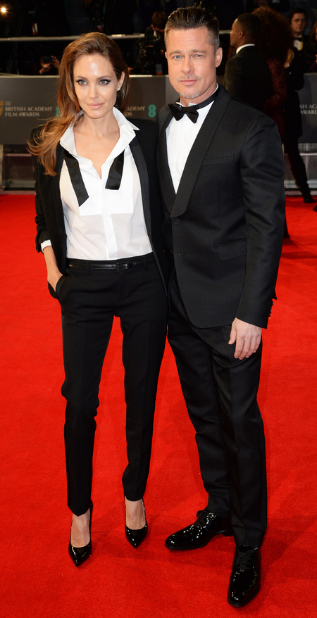 Angelina Jolie in an open tux at BAFTA Awards