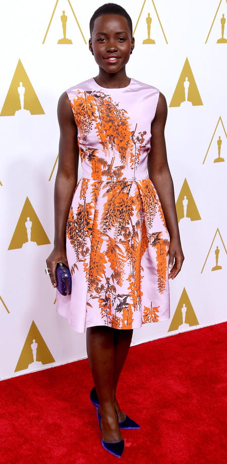 lupita nyongo floral print dress- oscar nominees luncheon -celebrity fashion - handbag.com
