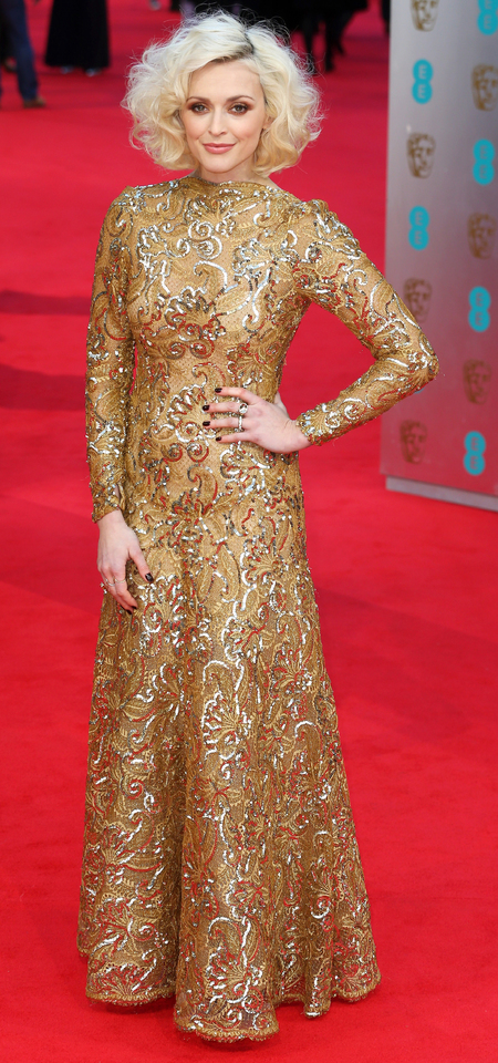 fearne cotton at 2014 bafta awards - gold dress and big curly hair - bronze makeup - celebrity trends - handbag.com
