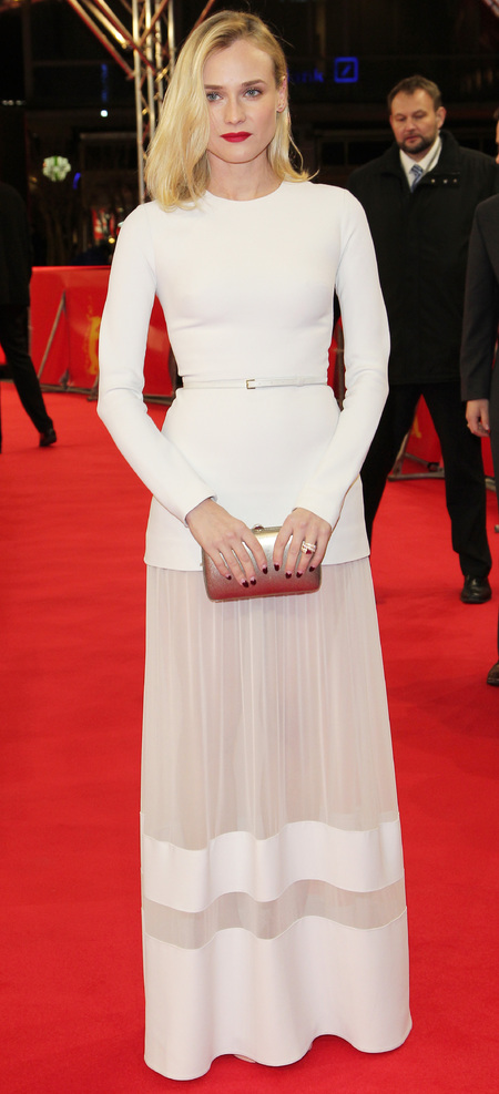Diane Kruger in white elie saab dress - res lips and short blonde hair - black heart nail art - handbag.com
