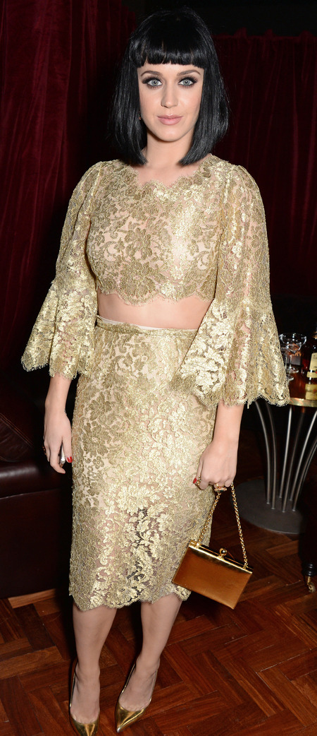 katy perry gold dolce gabbana dress - brits 2014 after party - celebrity fashion - handbag.com