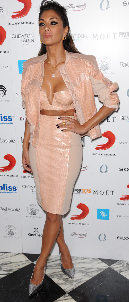 nicole scherzinger pink crop top skirt and bomber jacket - brits 2014 after party - celebrity fa