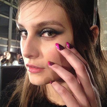 blue eye makeup trend - london fashion week autumn winter 2014 - charlotte wiggins at enry holland house of holland show - handbag.com