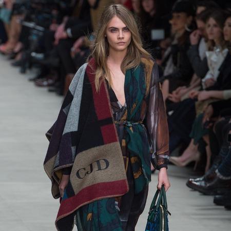 Cara Delevingne - burberry - geographic prints - lfw aw13 trends - handbag.com