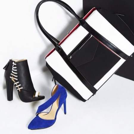gwen stefani gx shoe and handbag collection - shoe dazzle celebrity accessories - black and white handbag trend - handbag.com