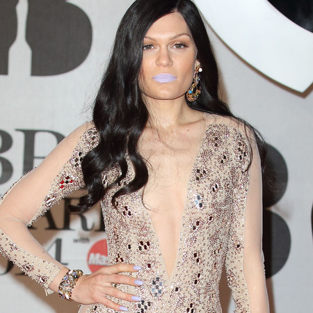 jessie j purple lipstick at brits 2014 - see throug naked nude jumpsuit - sheer fashion trend - handbag.com