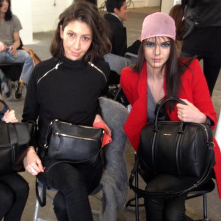 kendall jenner with givenchy handbag - handbagspy - backstage at giles london fashion week aw14 - handbag.com