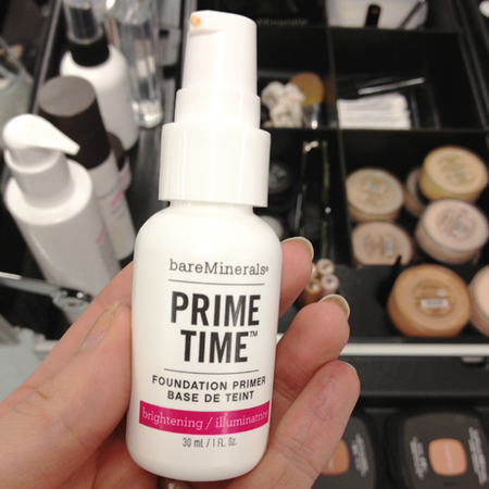 makeup products used backstage at london fashion week - bare minerals prime time brightening illuminating foundation prmier - how to brighten skin - handbag.com
