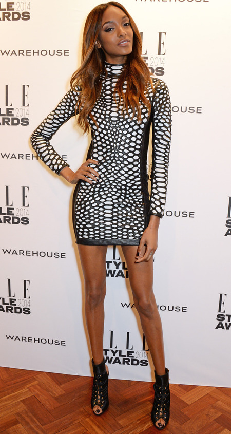 Elle style awards - jourdan dunn wearing black an white tom or dress - celebrity fashion trends - handbag.com