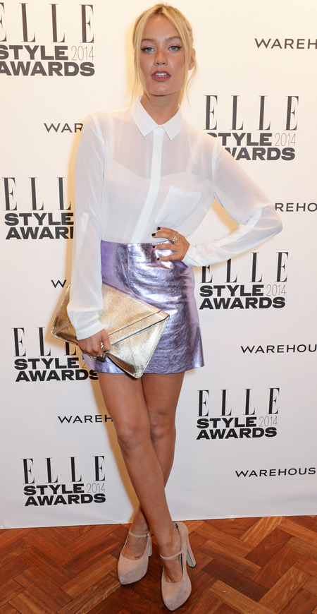 elle style awards - laura whitmore metallic skirt and white blouse - celebrity fashion trend - handbag.com