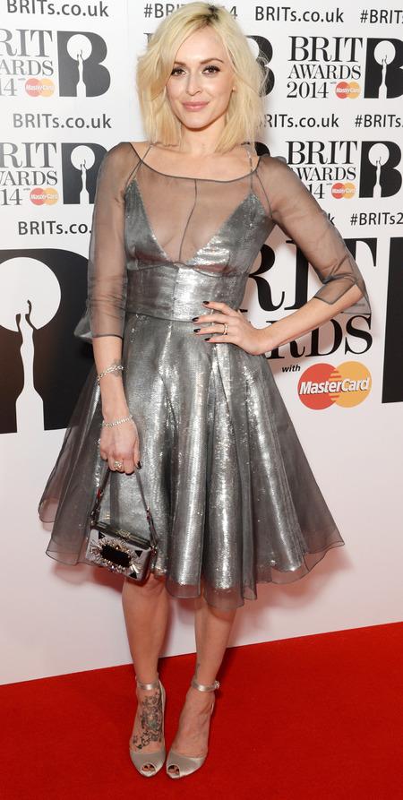fearne cotton silver metallic dress - brits 2014 - celebrity red carpet dresses - handbag.com