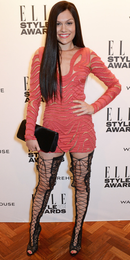 elle stye awards - jessie j red fishnet dress and fishnet tights - celebrity fashion trend - handbag.com