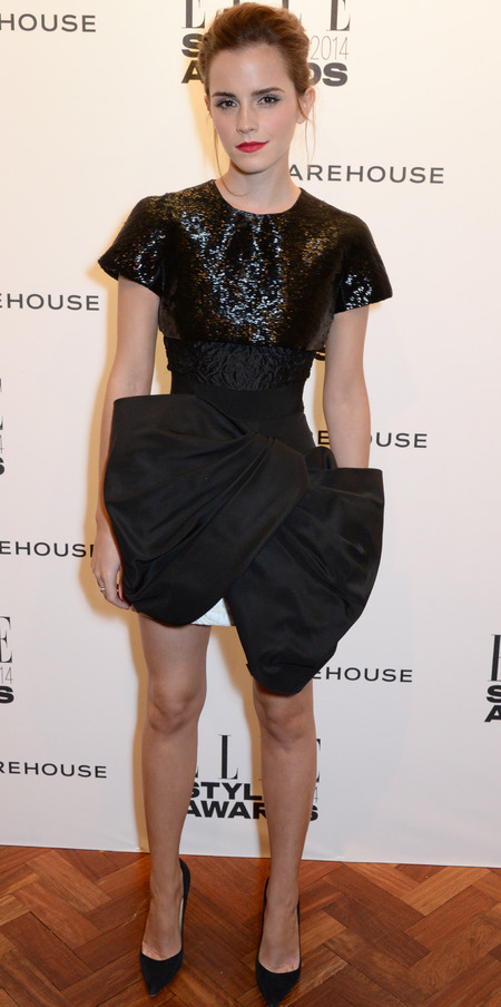 elle style awards - emma watson black bow dress - celebrity fashion trends - handbag.com