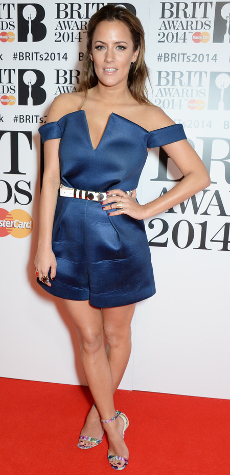 caroline flack at brits 2014 - slicked back hair - navy blue jumpsuit - handbag.com