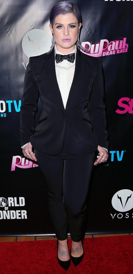 kelly osbourne in masculine fashion trend tuxedo suit - slicked back hairstyle - rupaul drag queen race - handbag.com