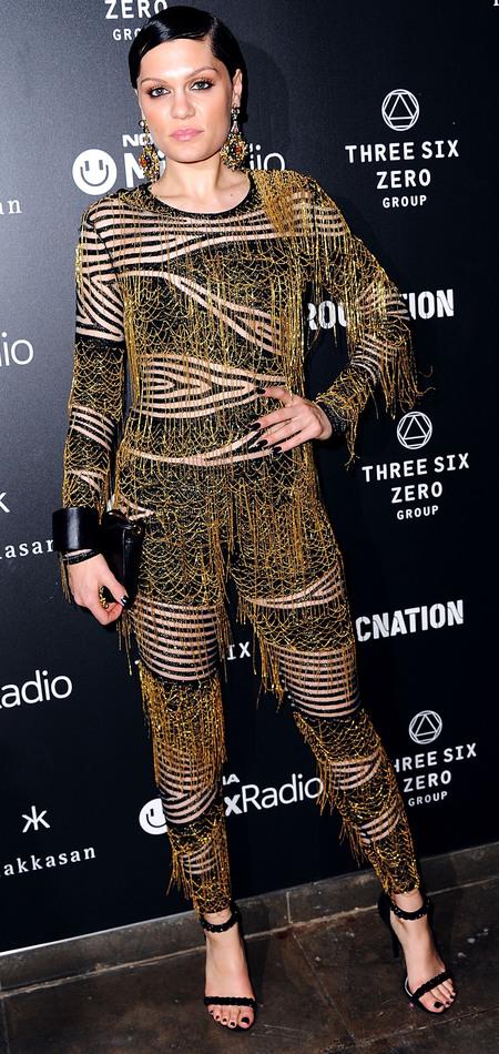 jessie j black gold jumpsuit - brits 2014 after party - celebrity fashion - handbag.com