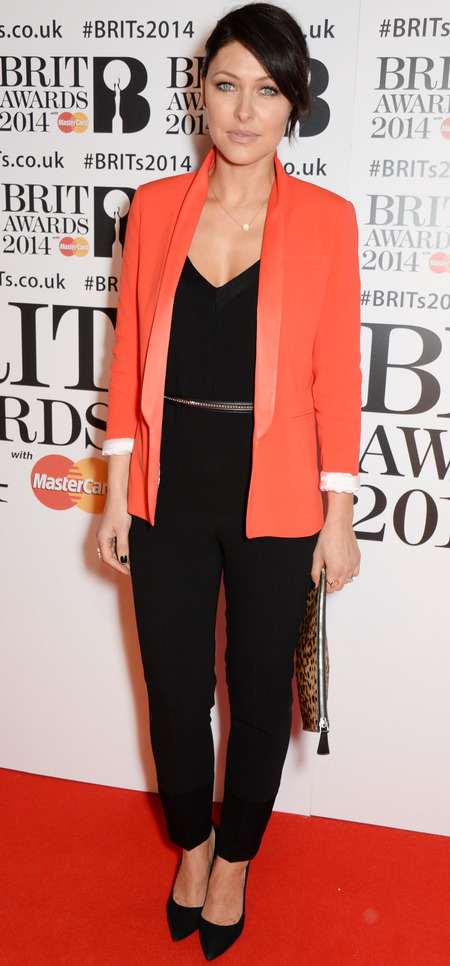 emma willis orange blazer brit awards 2014 - black jumpsuit - celebrity fashion - handbag.com