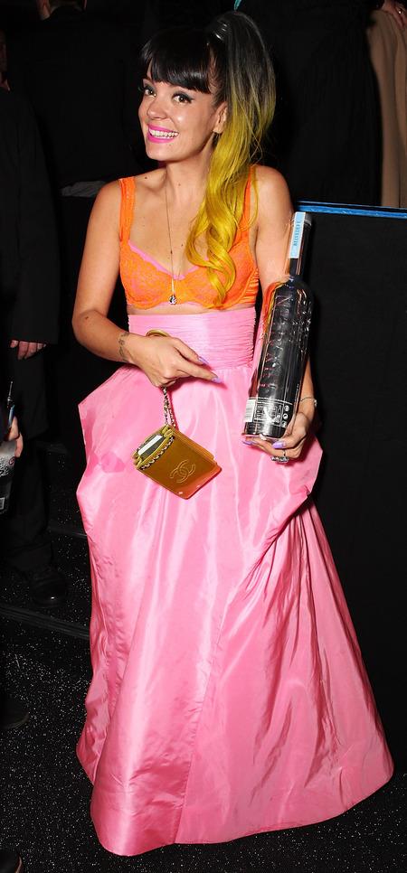 lily allen pink and orange dress - brit 2014 after party - celebrity fashion - handbag.com