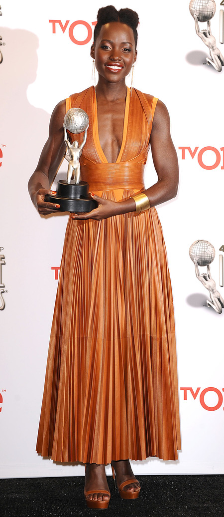 lupita nyongo orange dress - 2014 NAACP Image Awards - toned arms - handbag.com