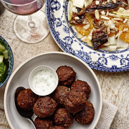Beef Meatballs with Sumac and Garlic Yoghurt recipe - dinner recipe - quick meal ideas - sharing meals - evening bag - handbag.com