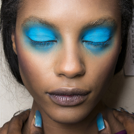 blue eye makeup at vivienne westwood - spring summer 2014 makeup trends - fashion week makeup - handbag.com