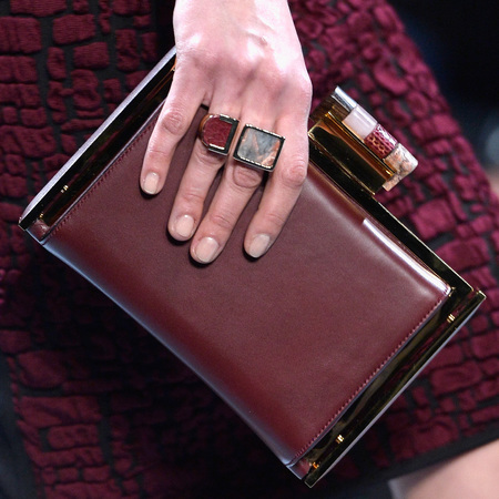Nina Ricci's burgundy box clutch