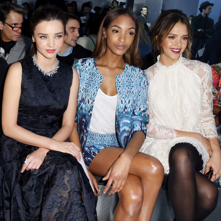 Miranda Kerr, Jessica Alba and Jourdan Dunn at H&M's Paris fashion week collection catwalk show - Autumn Winter 2014 - high street fashion news - catwalk collections - handbag.com