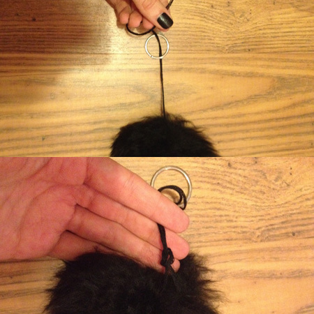 How to make your own pom pom handbag charm - step 1 knot to keyring - handbag.com