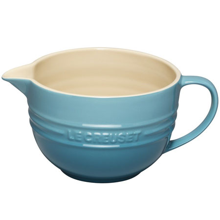 Le Creuset Stoneware Mixing Jug, Teal, 2 Litre sold by Amazon - kitchen essentials - handbag.com
