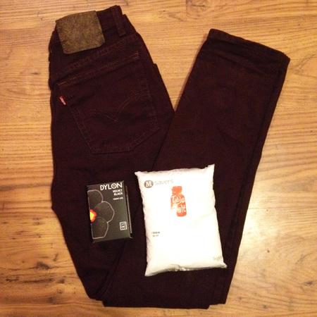 How to dye jeans black - 3 - using salt - washing machine dye - handbag.com