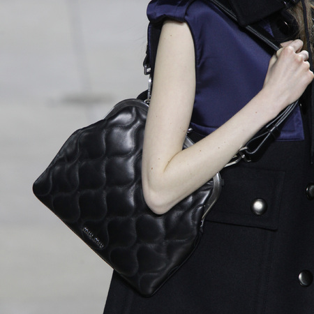 Miu Miu- paris fashion week - autumn winter 2014 - handbag collection - black quilted old lady bag - handbag.com