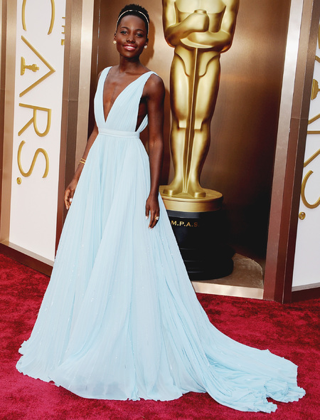 Lupita Nyong'o's blue Prada dress at 2014 Oscars