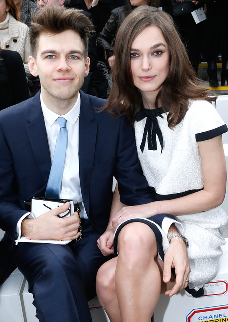 Keira Knightley at Chanel Paris Fashion Week show with James Righton - corseted Chanel dress - tiny waist - celebs figures - celebrity bodies - fashion news - handbag.com