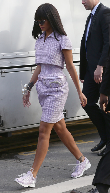 Rihanna wearing Chanel trainers at Paris Fashion Week - Chanel catwalk show AW14 - fashion week - comfortable shoes - fashion news - handbag.com