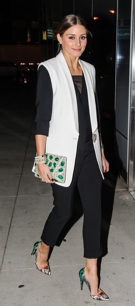 Olivia Palermo's white sleeveless tux jacket