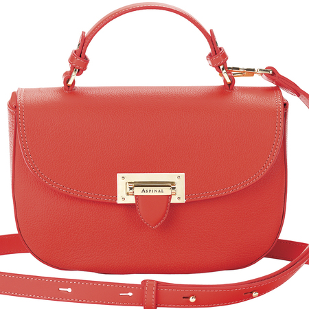 aspinal london new leather saddle bag - letterbox handbag collection - small red crossbody bag - handbag.com