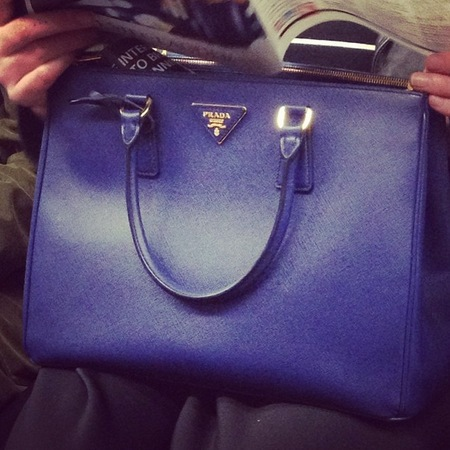 blue prada bag - handbag spy street style - handbag.com