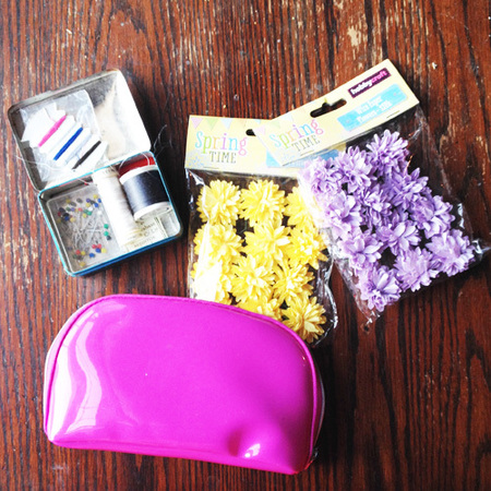 DIY Fashion Fix - how to make a Burberry style flower clutch bag - what you need - table - handbag.com