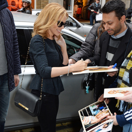 Kylie Minogue at album kiss me once launch - facebook HQ 2014 - Lancel bag - pharrell williams - relationships - life - shopping bag - handbag.com