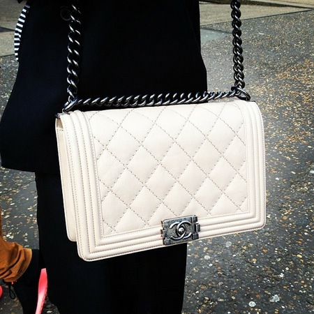 white chanel boy bag - handbag spy street style - handbagcom