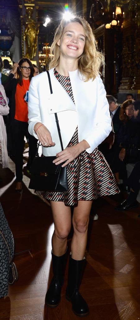 Natalia Vodionova's Stella McCartney napa flap boxy bag