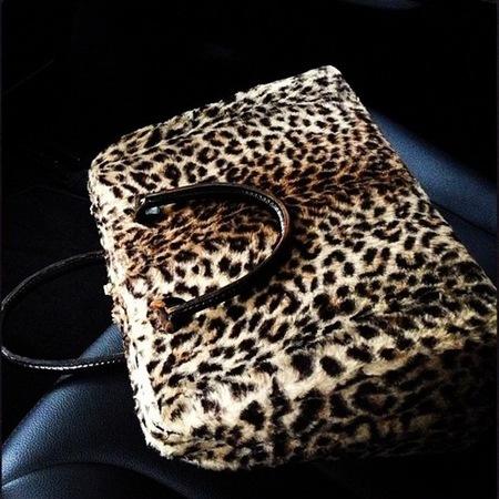 Alexa Chung's fluffy leopard print bag
