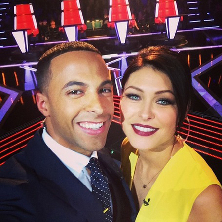 emma willis and marvin humes the voice uk selfie - yellow dress - berry lipstick - handbag.com