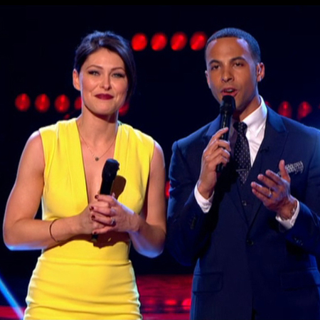 emma willis yellow dress on the voice uk - close up of yellow dress and red lipstick - emma willis clothes - handbag.com