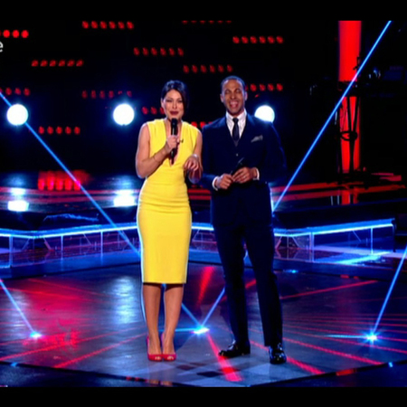 emma wills and marvin humes the voice uk 2014 - plunging yellow dress and red shoes - emma willis fashion - handbag.com