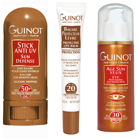 guinot handbag size suncream - anitaging sun protection - spf for face eyes and lips - handbag.com