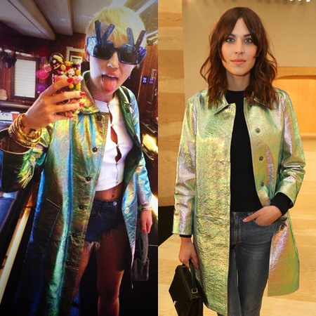 Miley Cyrus and Alexa Chung both wearing Marc Jacobs metallic coat - who wore it better - handbag.com
