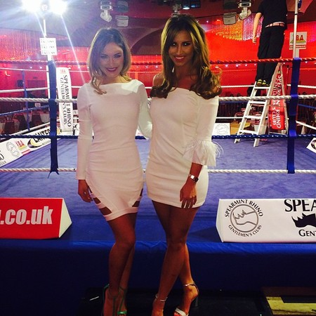 TOWIE - Sam Faiers and Ferne McCann both wearing white dress - nicole scherzinger for miss guided - handbag.com